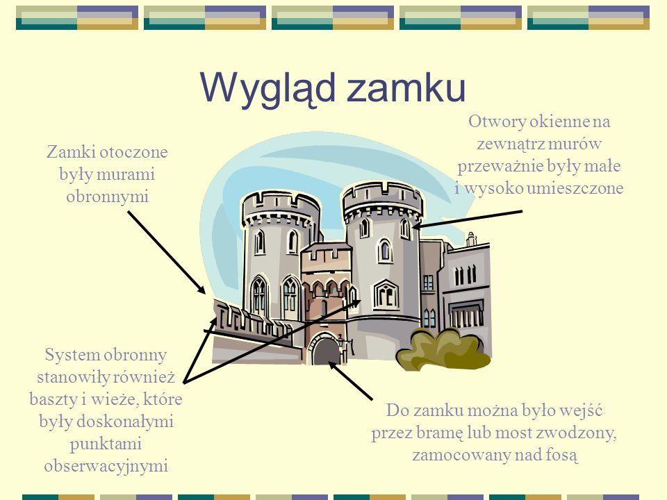 Wygląd zamku Zamki otoczone były murami obronnymi System obronny stanowiły również baszty i wieże, które były doskonałymi punktami obserwacyjnymi Do z