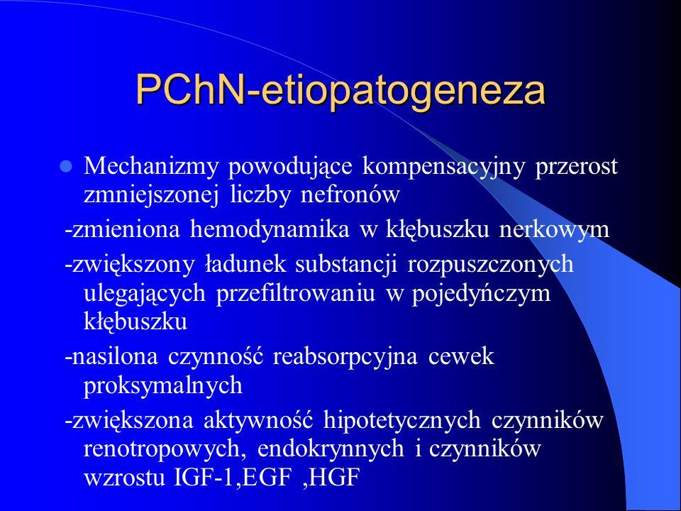 PChN-etiopatogeneza Mechanizmy powodujące kompensacyjny przerost zmniejszonej liczby nefronów -zmieniona hemodynamika w kłębuszku nerkowym -zwiększony