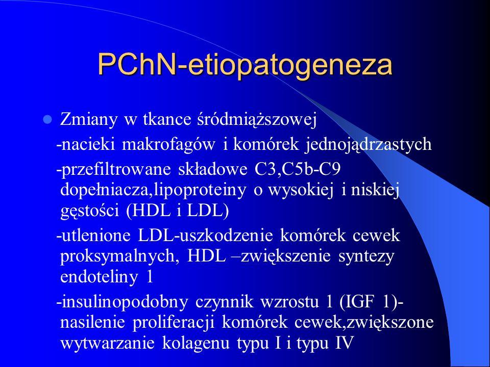 PChN-etiopatogeneza Zmiany w tkance śródmiąższowej -nacieki makrofagów i komórek jednojądrzastych -przefiltrowane składowe C3,C5b-C9 dopełniacza,lipop