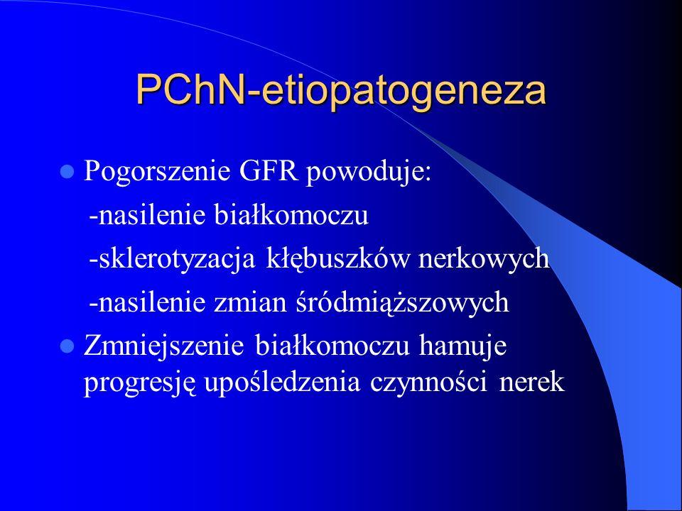 PChN-etiopatogeneza Pogorszenie GFR powoduje: -nasilenie białkomoczu -sklerotyzacja kłębuszków nerkowych -nasilenie zmian śródmiąższowych Zmniejszenie
