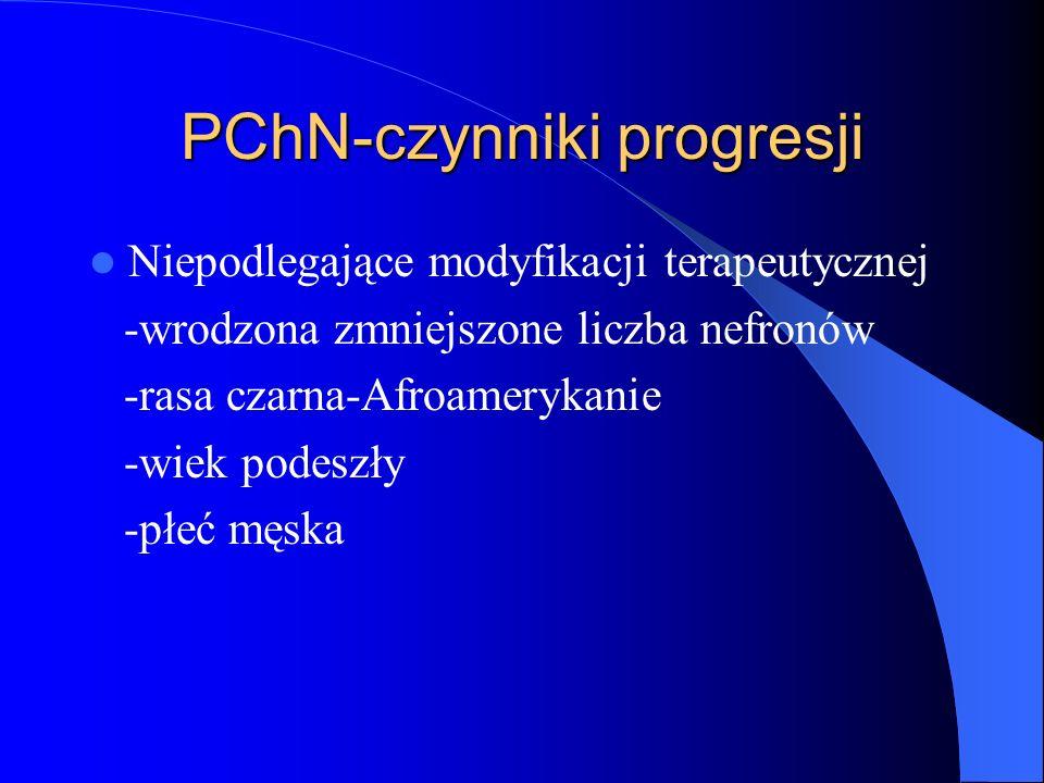 PChN-czynniki progresji Niepodlegające modyfikacji terapeutycznej -wrodzona zmniejszone liczba nefronów -rasa czarna-Afroamerykanie -wiek podeszły -pł