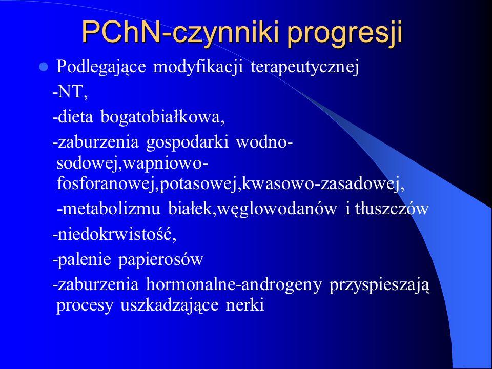 PChN-czynniki progresji Podlegające modyfikacji terapeutycznej -NT, -dieta bogatobiałkowa, -zaburzenia gospodarki wodno- sodowej,wapniowo- fosforanowe