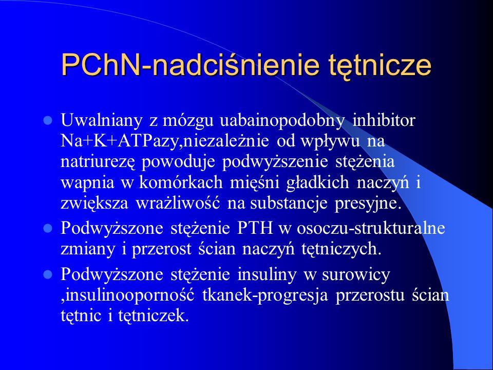 PChN-nadciśnienie tętnicze Uwalniany z mózgu uabainopodobny inhibitor Na+K+ATPazy,niezależnie od wpływu na natriurezę powoduje podwyższenie stężenia w
