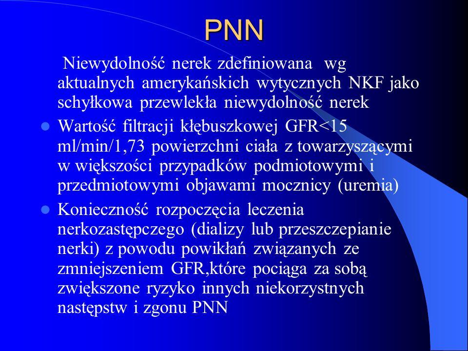 PNN Niewydolność nerek zdefiniowana wg aktualnych amerykańskich wytycznych NKF jako schyłkowa przewlekła niewydolność nerek Wartość filtracji kłębuszk