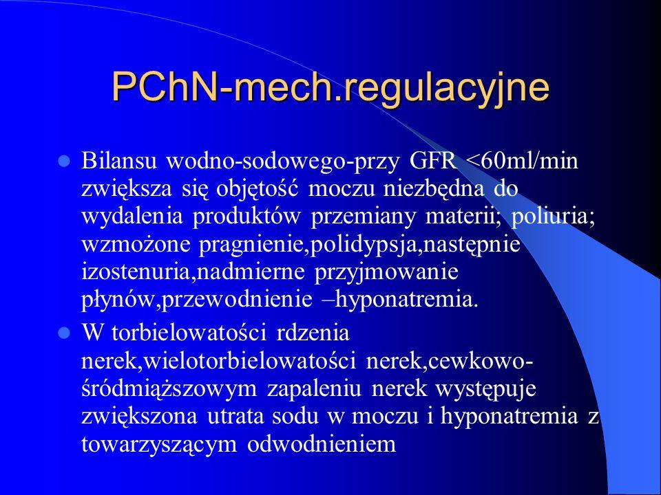 PChN-mech.regulacyjne Bilansu wodno-sodowego-przy GFR <60ml/min zwiększa się objętość moczu niezbędna do wydalenia produktów przemiany materii; poliur