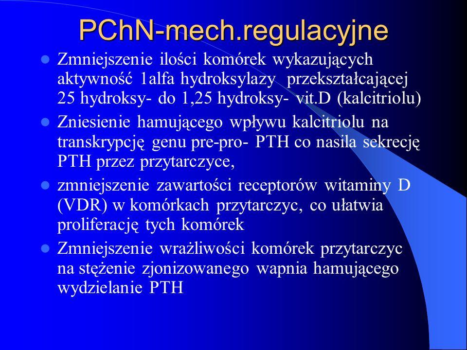 PChN-mech.regulacyjne Zmniejszenie ilości komórek wykazujących aktywność 1alfa hydroksylazy przekształcającej 25 hydroksy- do 1,25 hydroksy- vit.D (ka