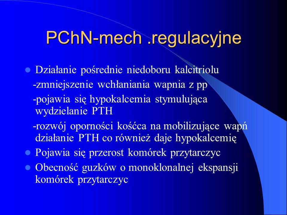 PChN-mech.regulacyjne Działanie pośrednie niedoboru kalcitriolu -zmniejszenie wchłaniania wapnia z pp -pojawia się hypokalcemia stymulująca wydzielani