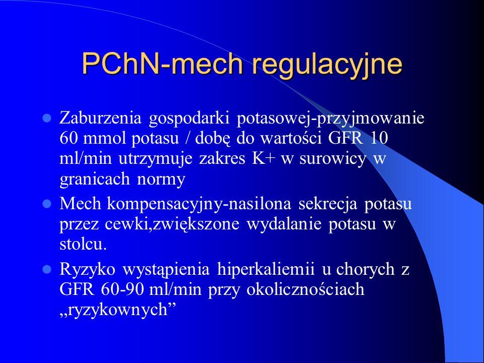 PChN-mech regulacyjne Zaburzenia gospodarki potasowej-przyjmowanie 60 mmol potasu / dobę do wartości GFR 10 ml/min utrzymuje zakres K+ w surowicy w gr