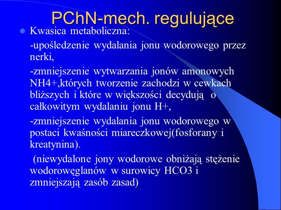 PChN-mech. regulujące Kwasica metaboliczna: -upośledzenie wydalania jonu wodorowego przez nerki, -zmniejszenie wytwarzania jonów amonowych NH4+,któryc