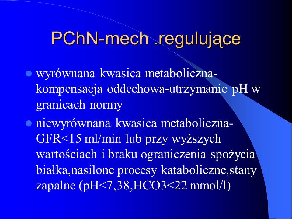 PChN-mech.regulujące wyrównana kwasica metaboliczna- kompensacja oddechowa-utrzymanie pH w granicach normy niewyrównana kwasica metaboliczna- GFR<15 m