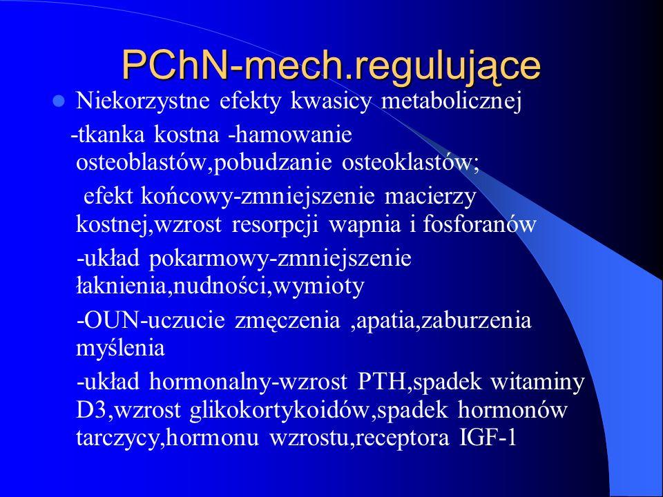 PChN-mech.regulujące Niekorzystne efekty kwasicy metabolicznej -tkanka kostna -hamowanie osteoblastów,pobudzanie osteoklastów; efekt końcowy-zmniejsze