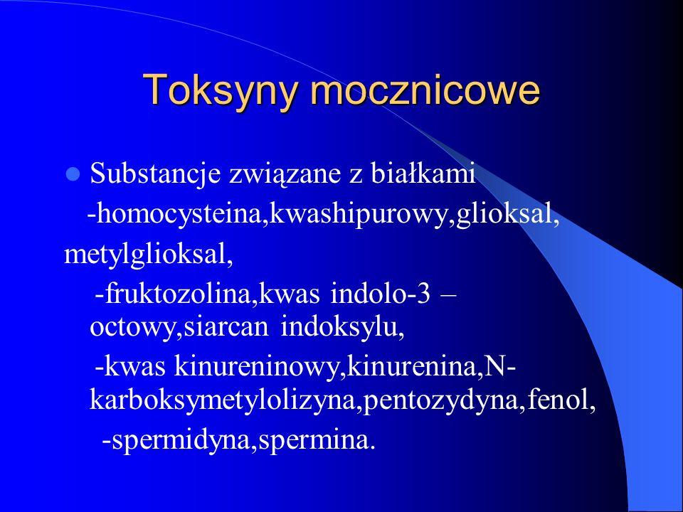 Toksyny mocznicowe Substancje związane z białkami -homocysteina,kwashipurowy,glioksal, metylglioksal, -fruktozolina,kwas indolo-3 – octowy,siarcan ind