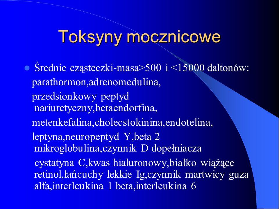 Toksyny mocznicowe Średnie cząsteczki-masa>500 i <15000 daltonów: parathormon,adrenomedulina, przedsionkowy peptyd nariuretyczny,betaendorfina, metenk