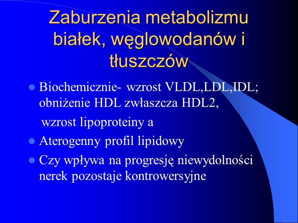 Zaburzenia metabolizmu białek, węglowodanów i tłuszczów Biochemicznie- wzrost VLDL,LDL,IDL; obniżenie HDL zwłaszcza HDL2, wzrost lipoproteiny a Aterog