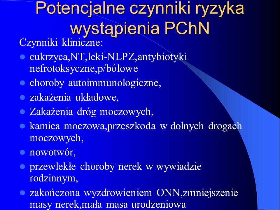 Potencjalne czynniki ryzyka wystąpienia PChN Czynniki kliniczne: cukrzyca,NT,leki-NLPZ,antybiotyki nefrotoksyczne,p/bólowe choroby autoimmunologiczne,