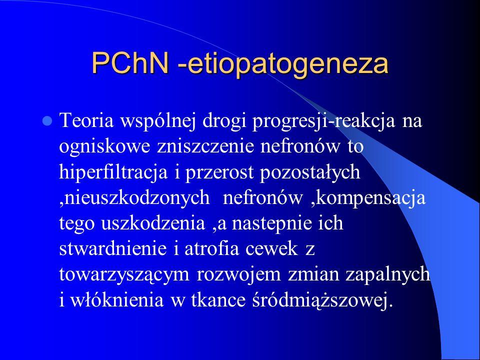 PChN-etiopatogeneza Nadciśnienie wewnątrzkłębuszkowe i przerost mniej licznych kłębuszków-aktywacja wewnątrznerkowego układu RAA,niezależnie od ustrojowej aktywności tego układu,obkurczenie kłębuszkowych tętniczek odprowadzających,podwyższone ciśnienie wewnątrzkłębuszkowe,zwiększenie współczynnika ultrafiltracji i wzrost SNGFR.