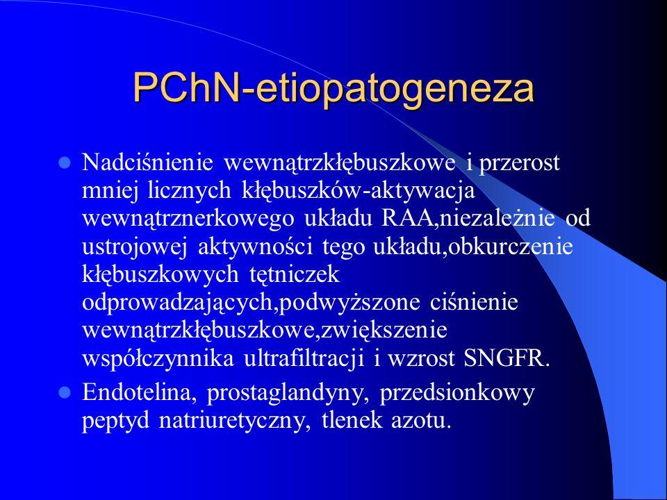 PChN-etiopatogeneza Mechanizmy powodujące kompensacyjny przerost zmniejszonej liczby nefronów -zmieniona hemodynamika w kłębuszku nerkowym -zwiększony ładunek substancji rozpuszczonych ulegających przefiltrowaniu w pojedyńczym kłębuszku -nasilona czynność reabsorpcyjna cewek proksymalnych -zwiększona aktywność hipotetycznych czynników renotropowych, endokrynnych i czynników wzrostu IGF-1,EGF,HGF