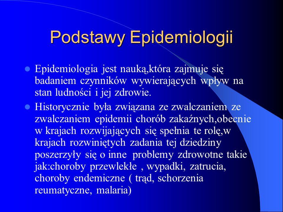 Podstawy Epidemiologii Epidemiologia jest nauką,która zajmuje się badaniem czynników wywierających wpływ na stan ludności i jej zdrowie. Historycznie