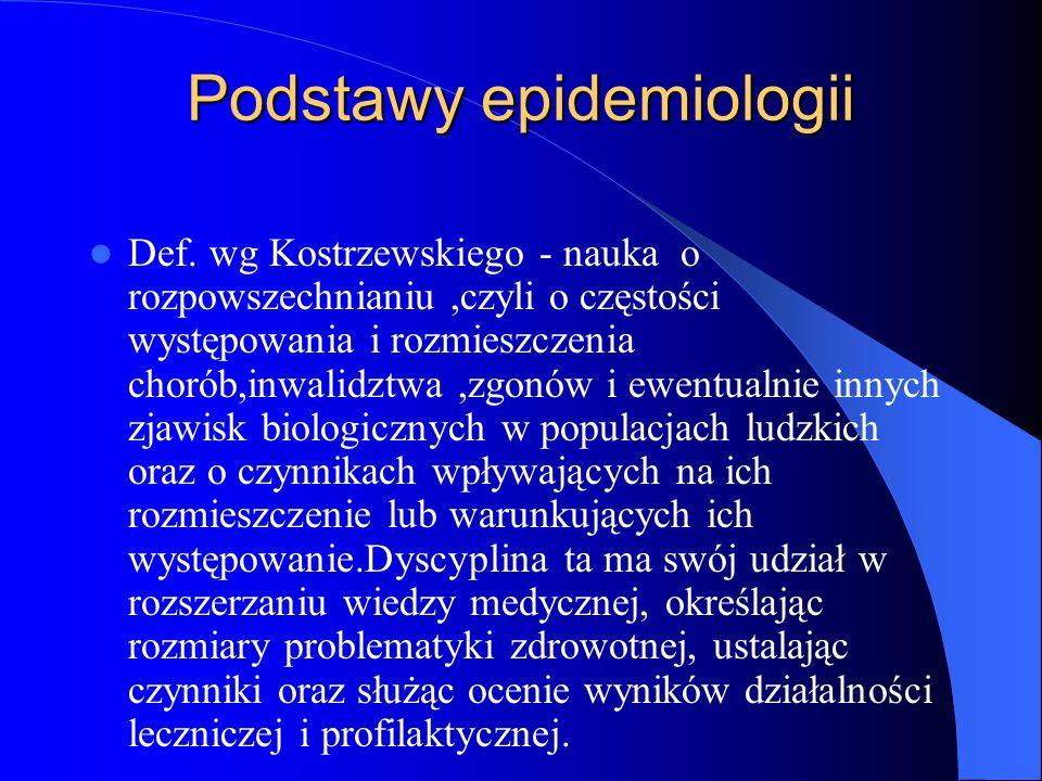 Podstawy epidemiologii Def. wg Kostrzewskiego - nauka o rozpowszechnianiu,czyli o częstości występowania i rozmieszczenia chorób,inwalidztwa,zgonów i