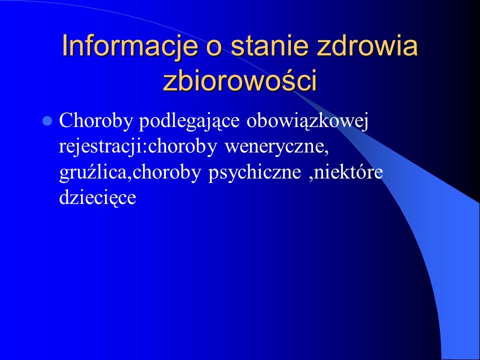 Informacje o stanie zdrowia zbiorowości Choroby podlegające obowiązkowej rejestracji:choroby weneryczne, gruźlica,choroby psychiczne,niektóre dziecięc