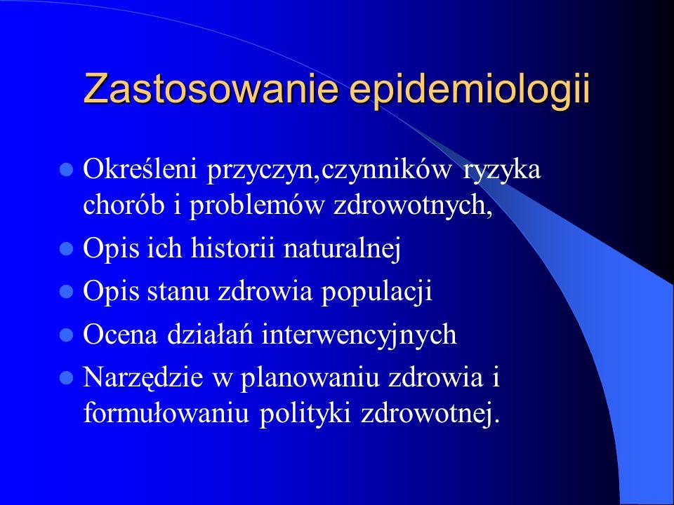 Zastosowanie epidemiologii Określeni przyczyn,czynników ryzyka chorób i problemów zdrowotnych, Opis ich historii naturalnej Opis stanu zdrowia populac