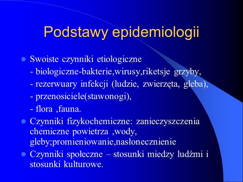 Podstawy epidemiologii Swoiste czynniki etiologiczne - biologiczne-bakterie,wirusy,riketsje grzyby, - rezerwuary infekcji (ludzie, zwierzęta, gleba),