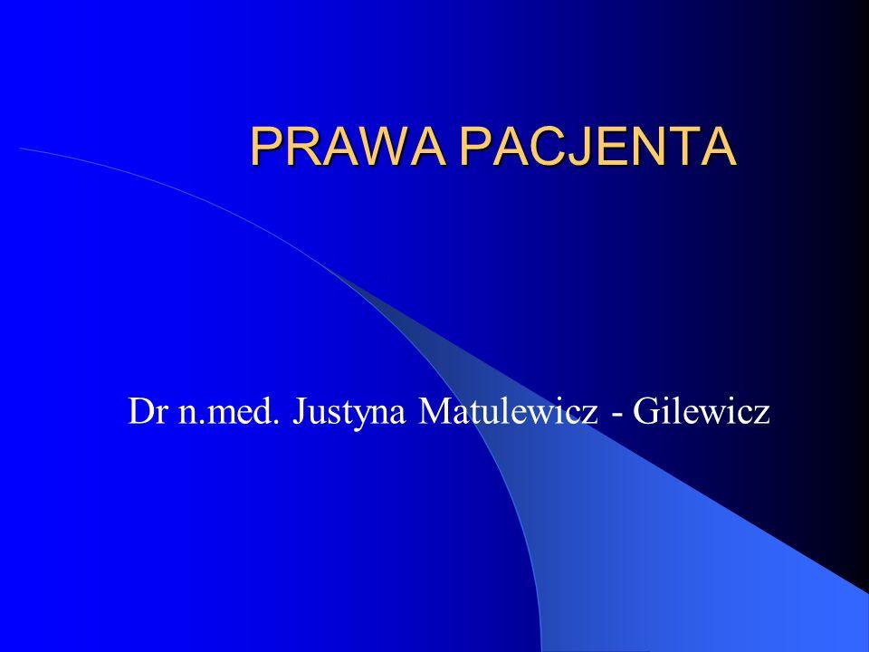 PRAWA PACJENTA Dr n.med. Justyna Matulewicz - Gilewicz