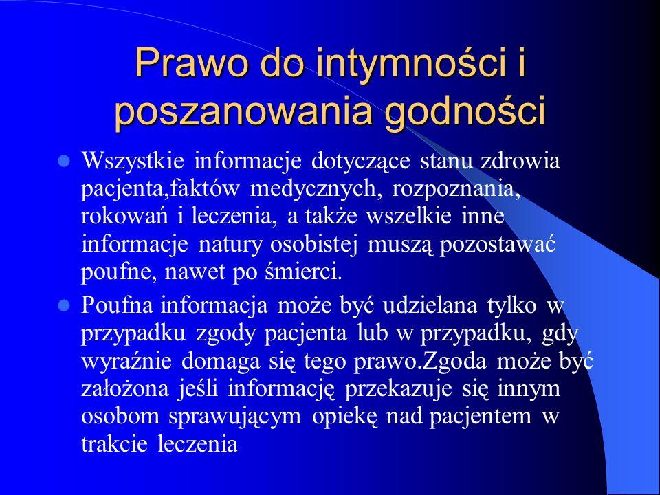 Prawo do intymności i poszanowania godności Wszystkie informacje dotyczące stanu zdrowia pacjenta,faktów medycznych, rozpoznania, rokowań i leczenia,