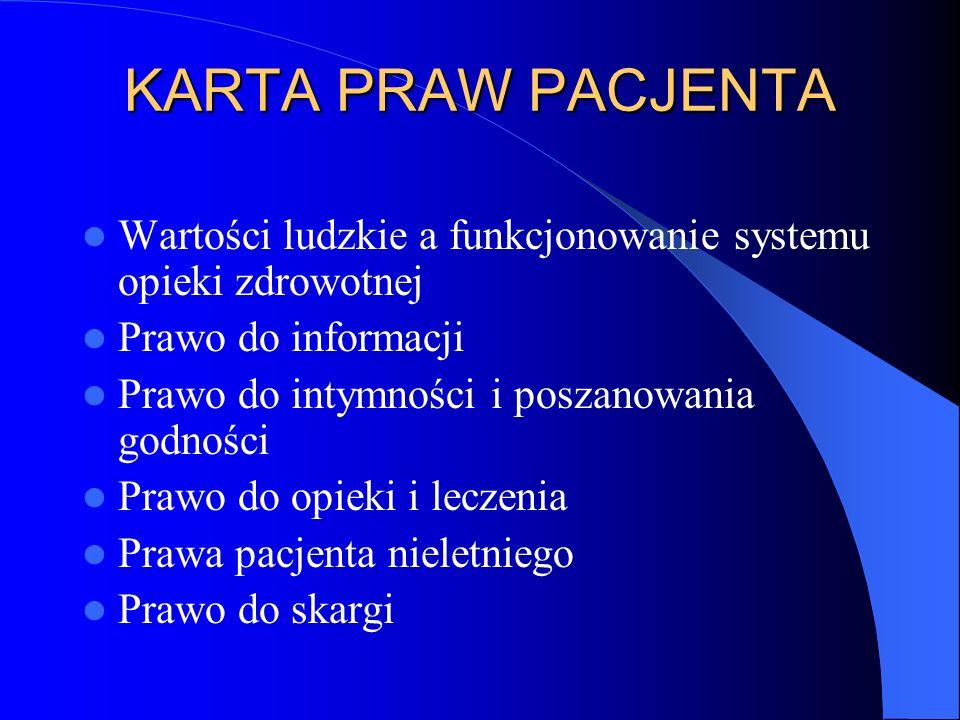 KARTA PRAW PACJENTA Wartości ludzkie a funkcjonowanie systemu opieki zdrowotnej Prawo do informacji Prawo do intymności i poszanowania godności Prawo