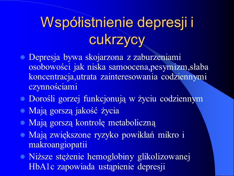 Współistnienie depresji i cukrzycy Depresja bywa skojarzona z zaburzeniami osobowości jak niska samoocena,pesymizm,słaba koncentracja,utrata zainteres