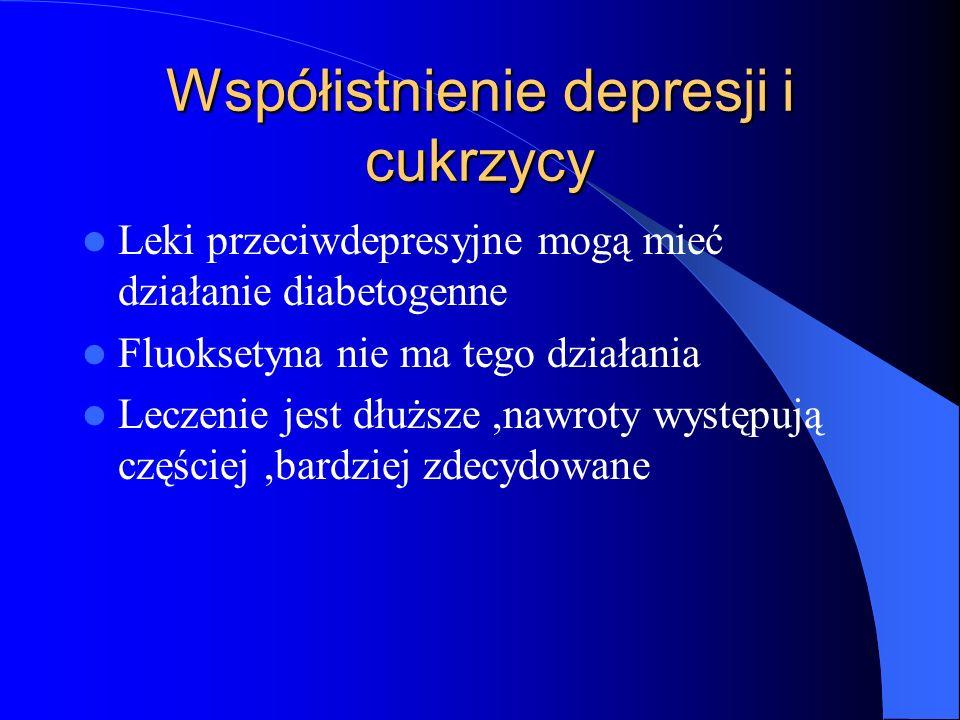 Współistnienie depresji i cukrzycy Leki przeciwdepresyjne mogą mieć działanie diabetogenne Fluoksetyna nie ma tego działania Leczenie jest dłuższe,naw