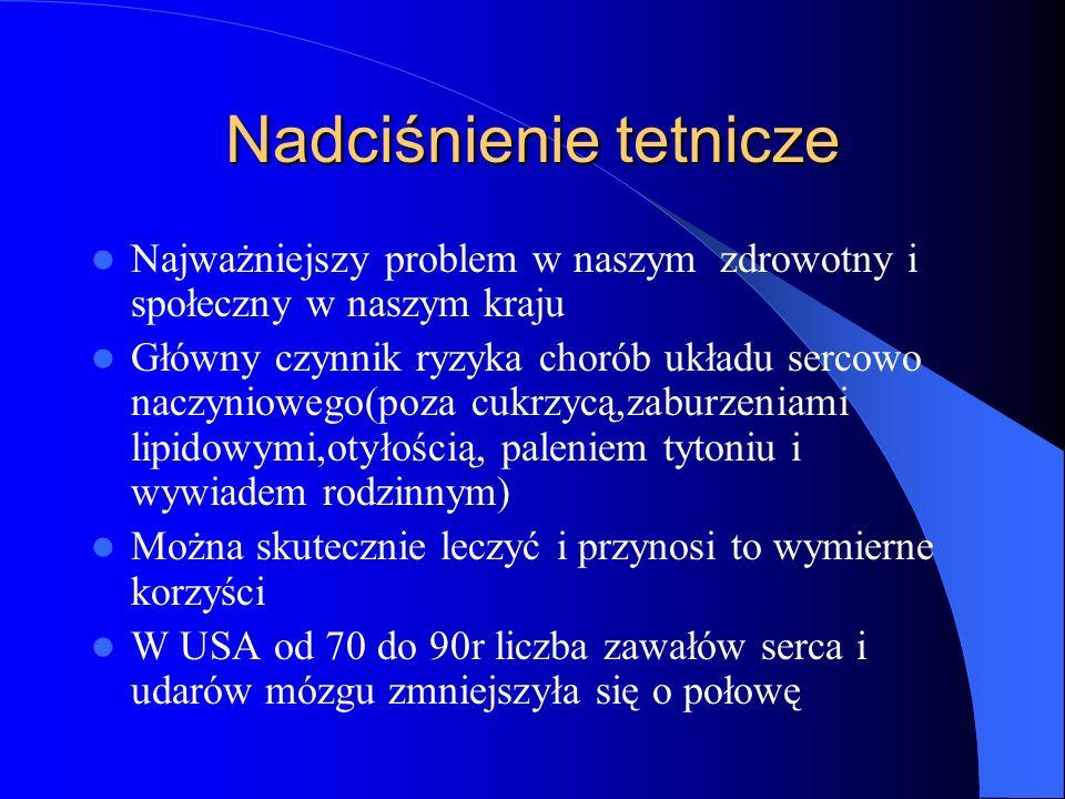 Nadciśnienie tetnicze Najważniejszy problem w naszym zdrowotny i społeczny w naszym kraju Główny czynnik ryzyka chorób układu sercowo naczyniowego(poz