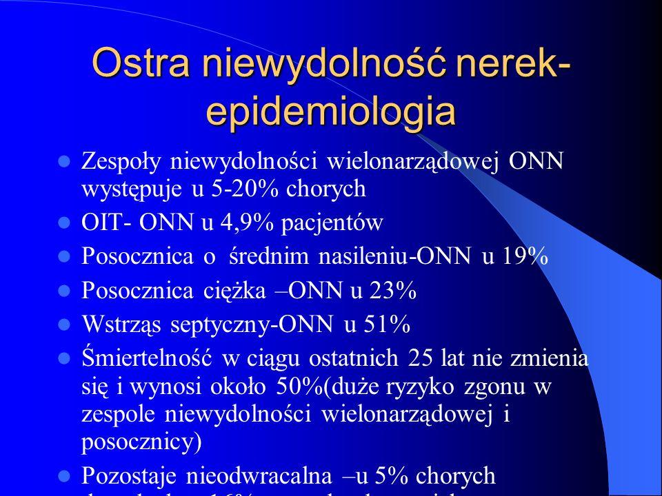 Ostra niewydolność nerek- epidemiologia Zespoły niewydolności wielonarządowej ONN występuje u 5-20% chorych OIT- ONN u 4,9% pacjentów Posocznica o śre