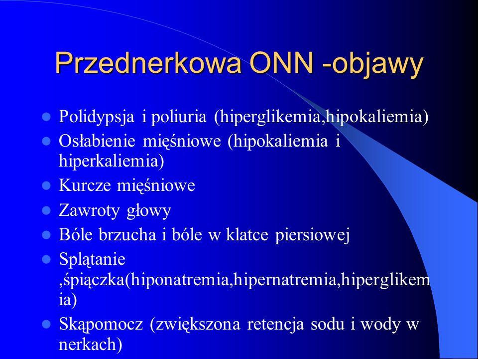 Przednerkowa ONN -objawy Polidypsja i poliuria (hiperglikemia,hipokaliemia) Osłabienie mięśniowe (hipokaliemia i hiperkaliemia) Kurcze mięśniowe Zawro