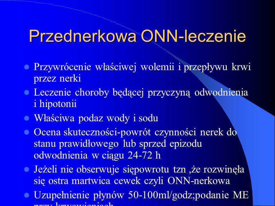 Przednerkowa ONN-leczenie Przywrócenie właściwej wolemii i przepływu krwi przez nerki Leczenie choroby będącej przyczyną odwodnienia i hipotonii Właśc