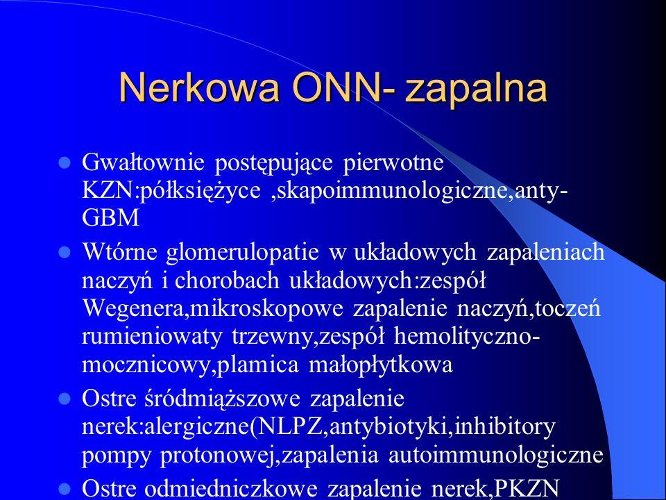 Nerkowa ONN- zapalna Gwałtownie postępujące pierwotne KZN:półksiężyce,skapoimmunologiczne,anty- GBM Wtórne glomerulopatie w układowych zapaleniach nac