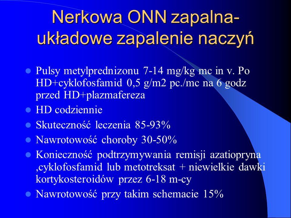 Nerkowa ONN zapalna- układowe zapalenie naczyń Pulsy metylprednizonu 7-14 mg/kg mc in v. Po HD+cyklofosfamid 0,5 g/m2 pc./mc na 6 godz przed HD+plazma