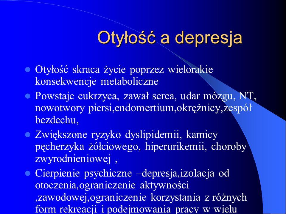 Otyłość a depresja Otyłość a depresja Roczna chorobowość dorosłej populacji 6-12% Odsetek wyższy u osób starszych, Wzrost zachorowalności na depresję, Zwiększona rozpoznawalność i poszerzenie kryteriów diagnostycznych, Wzrost zachorowań poprzez starzenie się populacji,nasilenie negatywnego wpływu czynników środowiskowych i psychologicznych,wzrost liczby substancji chemicznych mogą działać depresjogennie