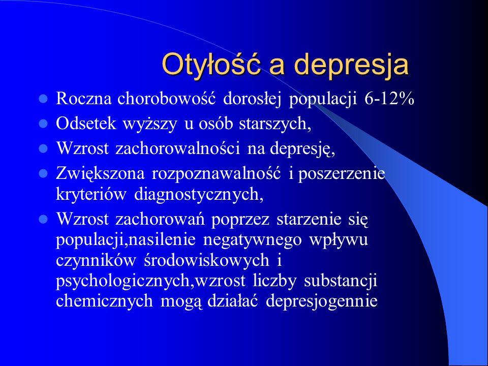 Otyłość a depresja Otyłość a depresja Przebieg przewlekły Nawrotowość sięgająca 100% Wieloletnie utrzymywanie się objawów u 10-20% pacjentów Mała wrażliwość na leczenie Wskaźnik samobójstw kilkakrotnie wyższy niż w populacji 15-25% zgonów w depresji jest zamachem samobójczym