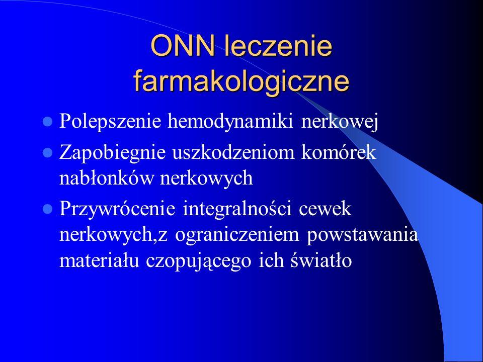 ONN leczenie farmakologiczne Polepszenie hemodynamiki nerkowej Zapobiegnie uszkodzeniom komórek nabłonków nerkowych Przywrócenie integralności cewek n
