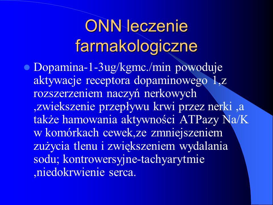ONN leczenie farmakologiczne Dopamina-1-3ug/kgmc./min powoduje aktywacje receptora dopaminowego 1,z rozszerzeniem naczyń nerkowych,zwiekszenie przepły