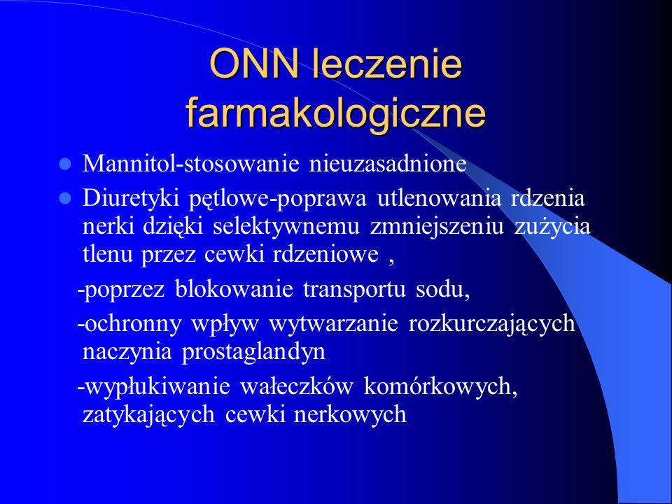 ONN leczenie farmakologiczne Mannitol-stosowanie nieuzasadnione Diuretyki pętlowe-poprawa utlenowania rdzenia nerki dzięki selektywnemu zmniejszeniu z