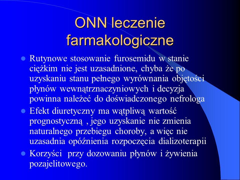 ONN leczenie farmakologiczne Rutynowe stosowanie furosemidu w stanie ciężkim nie jest uzasadnione, chyba że po uzyskaniu stanu pełnego wyrównania obję