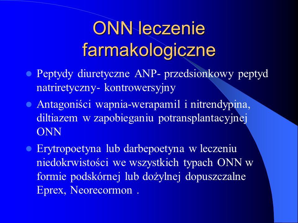 ONN leczenie farmakologiczne Peptydy diuretyczne ANP- przedsionkowy peptyd natriretyczny- kontrowersyjny Antagoniści wapnia-werapamil i nitrendypina,