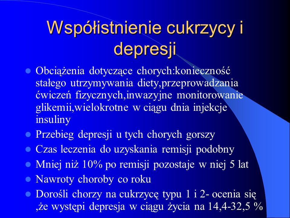 Współistnienie depresji i cukrzycy Depresja bywa skojarzona z zaburzeniami osobowości jak niska samoocena,pesymizm,słaba koncentracja,utrata zainteresowania codziennymi czynnościami Dorośli gorzej funkcjonują w życiu codziennym Mają gorszą jakość życia Mają gorszą kontrolę metaboliczną Mają zwiększone ryzyko powikłań mikro i makroangiopatii Niższe stężenie hemoglobiny glikolizowanej HbA1c zapowiada ustąpienie depresji