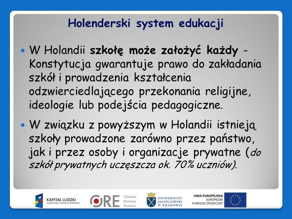 Holenderski system edukacji Funkcjonują więc szkoły prywatne, wyznaniowe (protestanckie i katolickie, muzułmańskie, żydowskie…).
