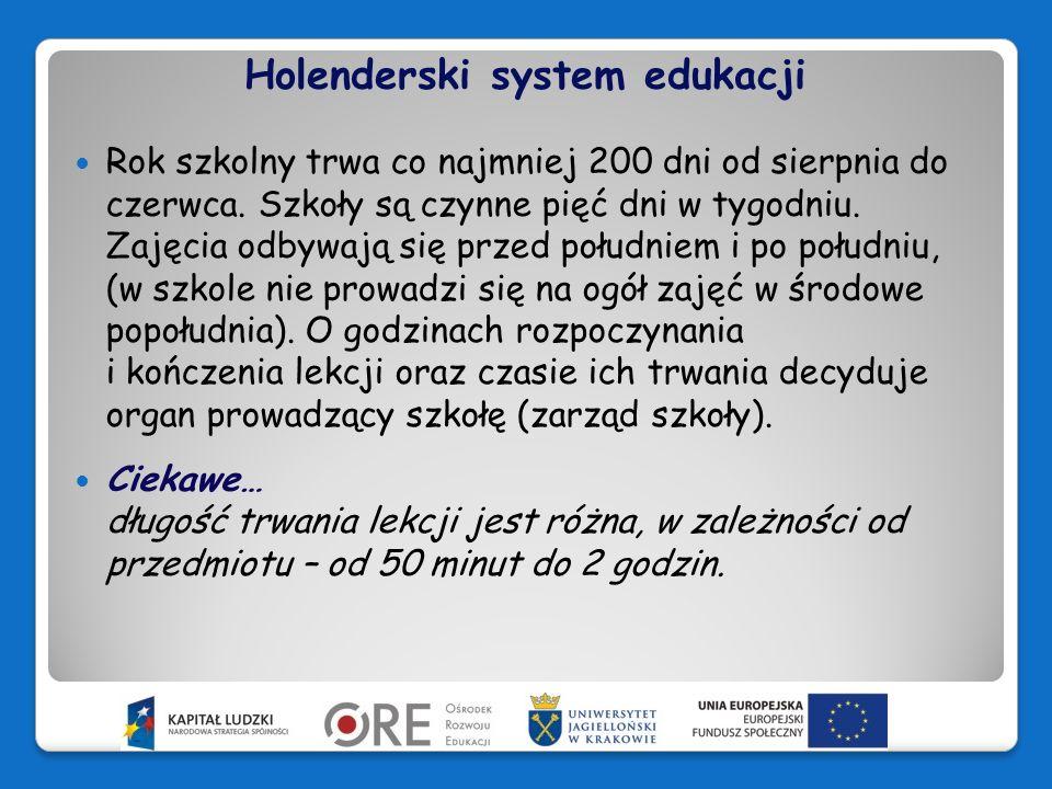 Holenderski system edukacji Nie istnieją zalecenia dotyczące liczebności klas.