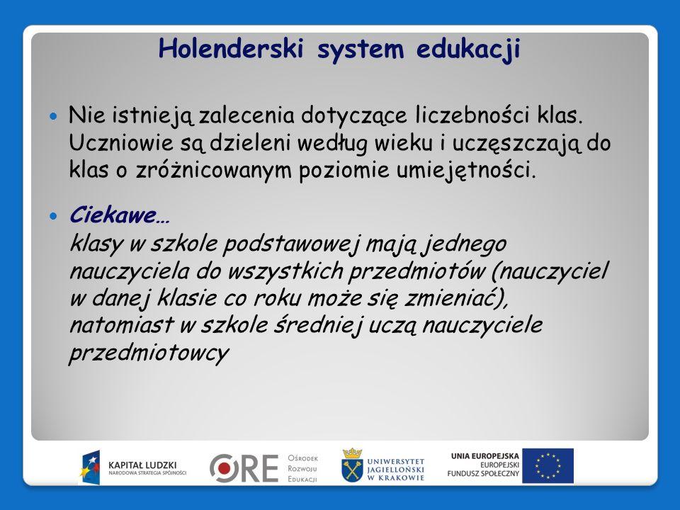 Holenderski system edukacji Szkoły samodzielnie opracowują plany i metody nauczania oraz wybierają materiały dydaktyczne.