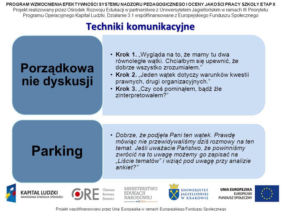 Projekt współfinansowany przez Unię Europejską w ramach Europejskiego Funduszu Społecznego Techniki komunikacyjne Krok 1.