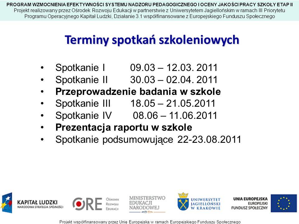 Terminy spotkań szkoleniowych Spotkanie I 22.03 – 25.03.